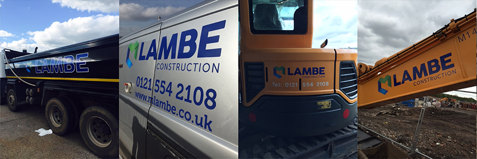 Vehicle livery for M Lambe construction